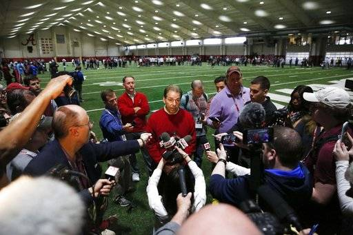 Alabama coach Nick Saban speaks to the media during Alabama's Pro Day, Wednesday, March 7, 2018, in Tuscaloosa, Ala. The event is to showcase players for the upcoming NFL football draft.