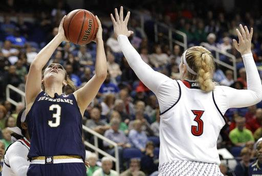 Notre Dame's Marina Mabrey, left, shoots over Louisville's Sam Fuehring, right, during the second half of an NCAA college basketball game in the championship of the women's Atlantic Coast Conference tournament in Greensboro, N.C., Sunday, March 4, 2018.