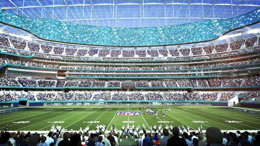 This architectural rendering provided by LA Stadium at Hollywood Park shows the midfield seating view of the future home of the National Football League's Los Angeles Rams and Los Angeles Chargers. The teams will begin selling season tickets Tuesday, March 13, for the stadium's opening tentatively scheduled for the 2020 NFL football season. (LA Stadium at Hollywood Park via AP)
