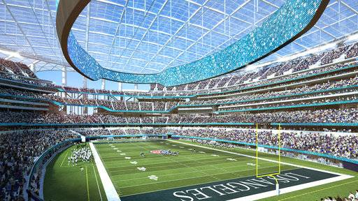 This architectural rendering provided by LA Stadium at Hollywood Park shows the south east seating view of the National Football League's Los Angeles Rams and Los Angeles Chargers. The teams will begin selling season tickets March 13, 2018, for the stadium's opening tentatively scheduled for the 2020 NFL football season. (LA Stadium at Hollywood Park via AP)