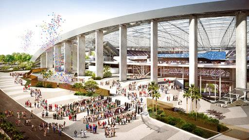 This architectural rendering provided by the LA Stadium at Hollywood Park shows the North Entry Plaza view of the future home of the NFL's Los Angeles Rams and Los Angeles Chargers. The teams will begin selling season tickets March 13, 2018, for the stadium's opening tentatively scheduled for the 2020 NFL football season. (LA Stadium at Hollywood Park via AP)