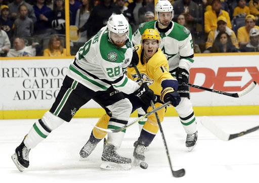 Dallas Stars defenseman Stephen Johns (28) and Nashville Predators center Calle Jarnkrok (19), of Sweden, battle for the puck in the second period of an NHL hockey game Tuesday, March 6, 2018, in Nashville, Tenn.