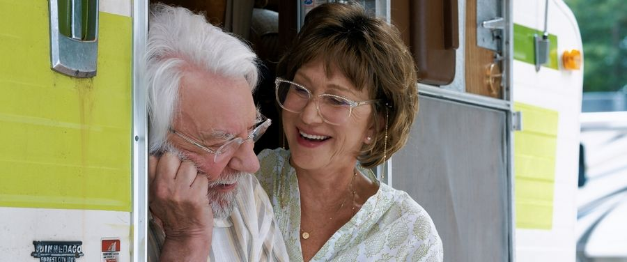 "Ella (Helen Mirren) comforts her husband John (Donald Sutherland) after a bout with dementia in the meandering AARP road movie ""The Leisure Seeker."""