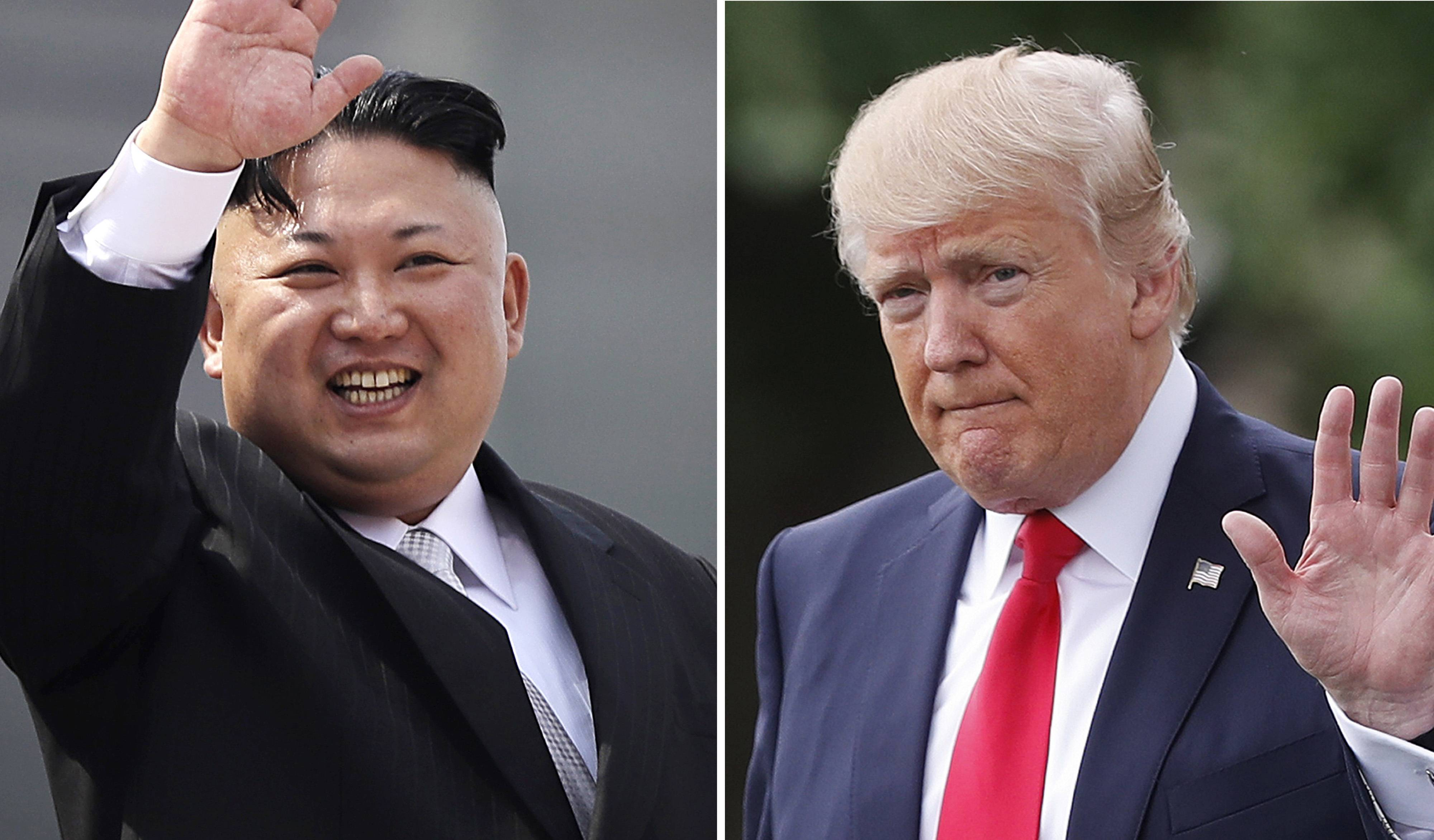 This combination of photos show North Korean leader Kim Jong Un on April 15, 2017, in Pyongyang, North Korea, left, and U.S. President Donald Trump in Washington on April 29, 2017.