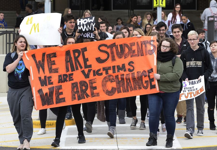 Schaumburg High School students participated in a national school walkout last month to protest gun violence.
