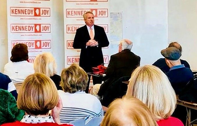 Democratic candidate for governor Chris Kennedy, a Kenilworth developer and member of the famous political clan, talks to a crowd at a recent event in Naperville.
