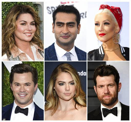 "This combination photo shows, top row from left, Shania Twain, Kumail Nanjiani, Christina Aguilera, and bottom row from left, Andrew Rannells, Kate Upton and Billy Eichner, who will guest star on the 10th season of ""RuPaul's Drag Race."" The series premieres Thursday, March 22."