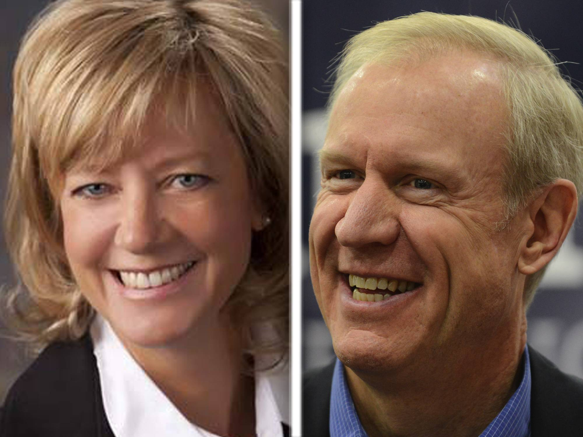 Jeanne Ives, left, and Bruce Rauner, right, are running for the Republican nomination for governor.