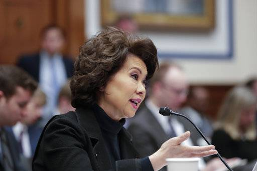 Transportation Secretary Elaine Chao testifies before the House Transportation and Infrastructure Committee on President Donald Trump's trillion-dollar-plus plan to boost infrastructure, on Capitol Hill in Washington, Tuesday, March 6, 2018.