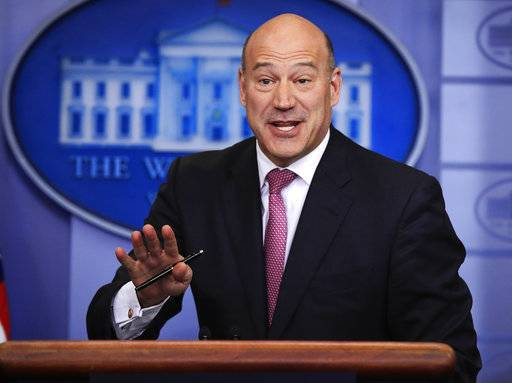 FILE - In this Jan. 23, 2018, file photo, White House chief economic adviser Gary Cohn, speaks to reporters during the daily press briefing in the Brady press briefing room at the White House, in Washington. Cohn is leaving the White House after breaking with President Donald Trump on trade policy. Cohn, the director of the National Economic Council, has been the leading internal opponent to Trump's planned tariffs on imports of steel and aluminum.