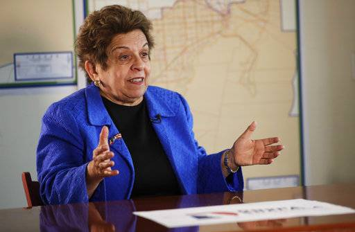 "In this Wednesday, March 7, 2018 photo, former Health and Human Services secretary Donna Shalala speaks during an interview in Miami. Shalala is vying to be the Democratic pick to snatch a Florida congressional seat held for nearly three decades by retiring Republican Rep. Ileana Ros-Lehtinen. Her sight is already set on President Donald Trump, who she calls an ""embarrassment.�"