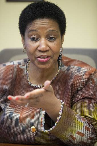 "Phumzile Mlambo-Ngcuka, United Nations Under-Secretary-General and Executive Director of U.N. Women, speaks during an interview with The Associated Press, Wednesday, March 7, 2018, in New York. The head of the U.N. agency promoting equality for women says the global spotlight on sexual harassment and abuse and the punishment of some powerful men who had been ""untouchable"" is an important moment - but it's just ""a tip of an iceberg."""