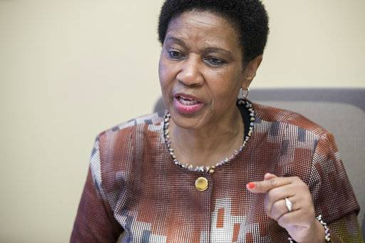 "Phumzile Mlambo-Ngcuka, United Nations Under-Secretary-General and Executive Director of U.N. Women, speaks during an interview with The Associated Press, Wednesday, March 7, 2018, in New York. The head of the U.N. agency promoting equality for women says the global spotlight on sexual harassment and abuse and the punishment of some powerful men who had been ""untouchable"" is an important moment - but it's just ""a tip of an iceberg."" Mlambo-Ngcuka stressed that while the spotlight has been on powerful male offenders in Hollywood, business and the high echelons of society, sexual harassment and abuse is prevalent around the world from factories and farms to buses, trains and homes."