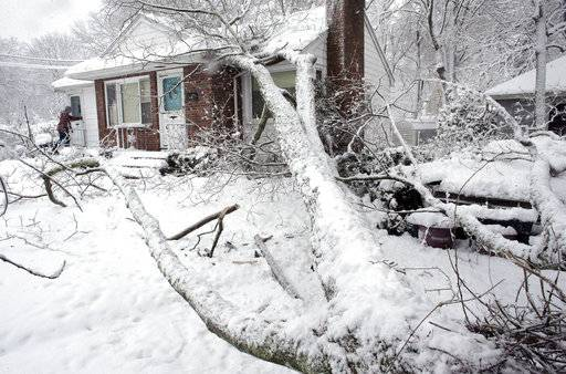 Brian Farrell, of Walpole, Mass., left, enters his home Thursday, March 8, 2018, after a tree fell on the house and a car, right, in Walpole. For the second time in less than a week, a storm rolled into the Northeast with wet, heavy snow Wednesday and Thursday, grounding flights, closing schools and bringing another round of power outages to a corner of the country still recovering from the previous blast of winter.