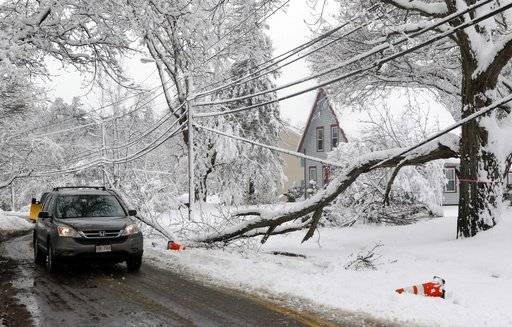 A motorist navigates around a downed limb partially blocking a road and resting on a power line after a snowstorm, Thursday, March 8, 2018, in Northborough, Mass.  The storm produced heavy, wet snow that brought down tree limbs and power lines.
