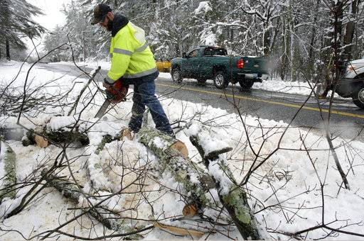 Upton Department of Public Works worker Rob Marcoux, of Bellingham, Mass., uses a chainsaw to cut up fallen tree limbs, Thursday, March 8, 2018, in Upton. For the second time in less than a week, a storm rolled into the Northeast with wet, heavy snow Wednesday and Thursday, grounding flights, closing schools and bringing another round of power outages to a corner of the country still recovering from the previous blast of winter.
