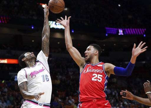 Miami Heat's James Johnson (16) blocks a shot by Philadelphia 76ers' Ben Simmons (25) during the first half of an NBA basketball game Thursday, March 8, 2018, in Miami.