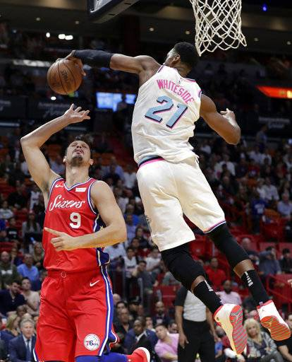Miami Heat's Hassan Whiteside (21) blocks a shot by Philadelphia 76ers' Dario Saric (9) during the first half of an NBA basketball game Thursday, March 8, 2018, in Miami.