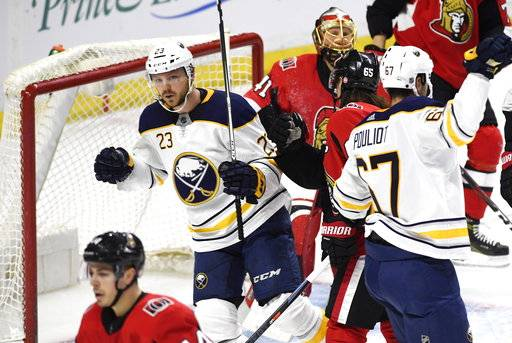 Buffalo Sabres' Sam Reinhart (23) reacts after scoring on Ottawa Senators goaltender Craig Anderson (41) during second period NHL hockey action in Ottawa, Thursday, March 8, 2018. (Justin Tang/The Canadian Press via AP)