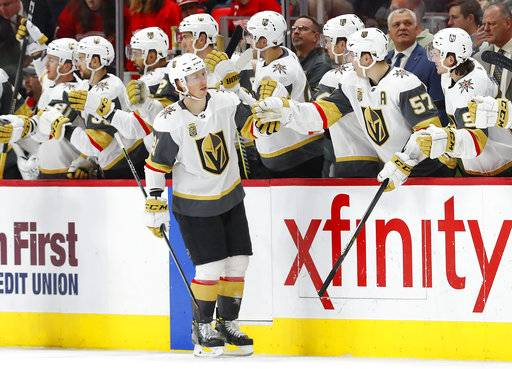 Vegas Golden Knights center Cody Eakin is congratulated for his goal against the Detroit Red Wings during the second period of an NHL hockey game Thursday, March 8, 2018, in Detroit.