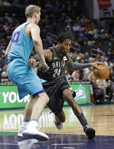 Brooklyn Nets' Rondae Hollis-Jefferson (24) drives against Charlotte Hornets' Cody Zeller (40) during the first half of an NBA basketball game in Charlotte, N.C., Thursday, March 8, 2018.
