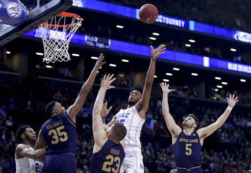 Duke forward Marvin Bagley III (35) shoots against Notre Dame during the second half of an NCAA college basketball game in the Atlantic Coast Conference men's tournament Thursday, March 8, 2018, in New York.