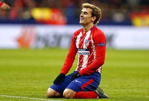 Atletico Madrid's Antoine Griezmann reacts during the Europa League Round of 16 first leg soccer match between Atletico Madrid and Lokomotiv Moscow at the Metropolitano stadium in Madrid, Thursday, March 8, 2018.