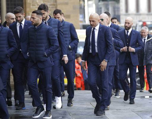 Inter Milan players and their coach Luciano Spalletti arrive for the funeral ceremony of Italian player Davide Astori in Florence, Italy, Thursday, March 8, 2018. The 31-year-old Astori was found dead in his hotel room on Sunday after a suspected cardiac arrest before his team was set to play an Italian league match at Udinese.