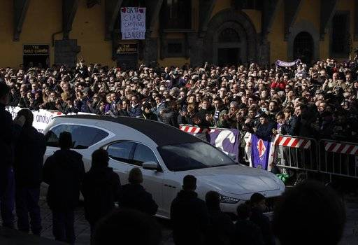 A moment of the funeral ceremony of Italian player Davide Astori in Florence, Italy, Thursday, March 8, 2018. The 31-year-old Astori was found dead in his hotel room on Sunday after a suspected cardiac arrest before his team was set to play an Italian league match at Udinese.
