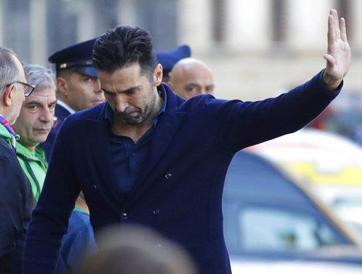 Juventus' Gianluigi Buffon arrives for the funeral ceremony of Italian player Davide Astori in Florence, Italy, Thursday, March 8, 2018. The 31-year-old Astori was found dead in his hotel room on Sunday after a suspected cardiac arrest before his team was set to play an Italian league match at Udinese.