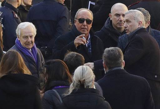 Italy's former coach Gian Piero Ventura arrives for the funeral ceremony of Italian player Davide Astori in Florence, Italy, Thursday, March 8, 2018. The 31-year-old Astori was found dead in his hotel room on Sunday after a suspected cardiac arrest before his team was set to play an Italian league match at Udinese.