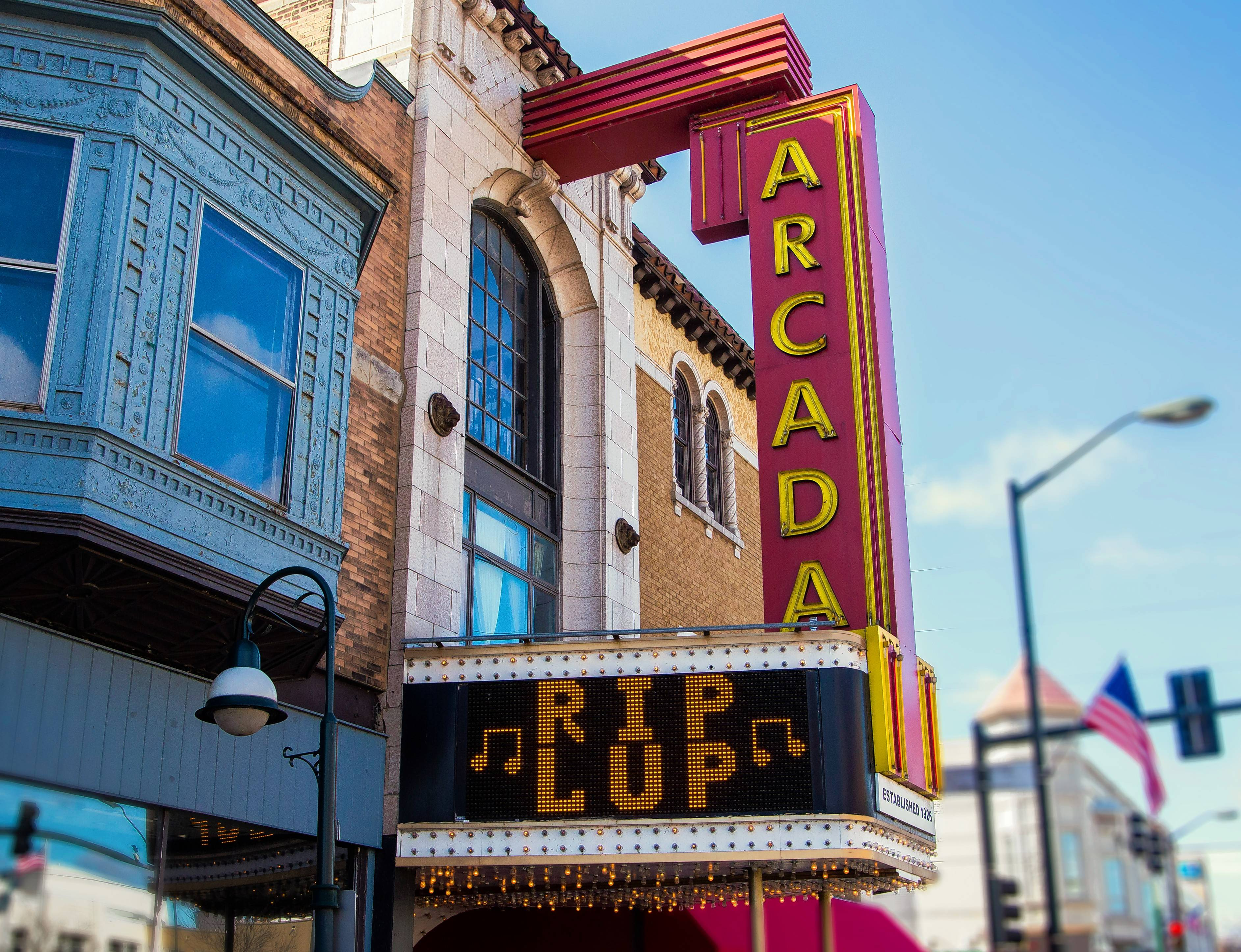 The marquee outside Ron Onesti's Arcada Theatre in St. Charles this week bids farewell to LUP — radio station WLUP 97.9-FM, The Loop, which is changing formats from classic rock to Christian music.