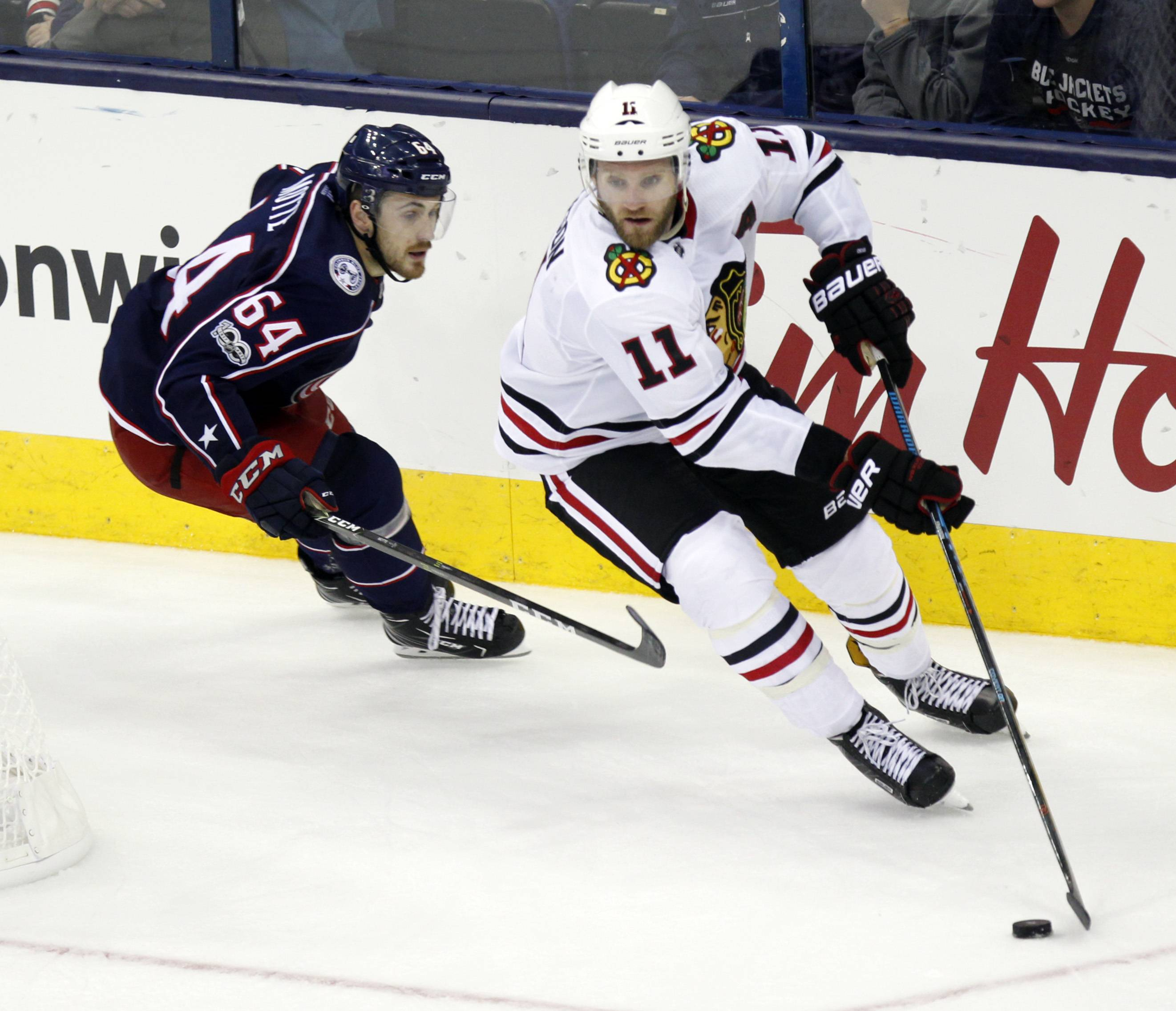 Now with the Rockford Icehogs, former Blackhawks defenseman Cody Franson, right, says he's working on his speed and footwork to improve his chances of playing in the NHL again.