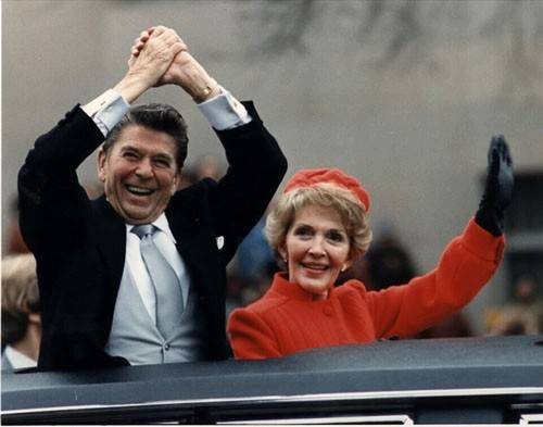 President Ronald Reagan and his wife Nancy at his inaugural parade in 1981.