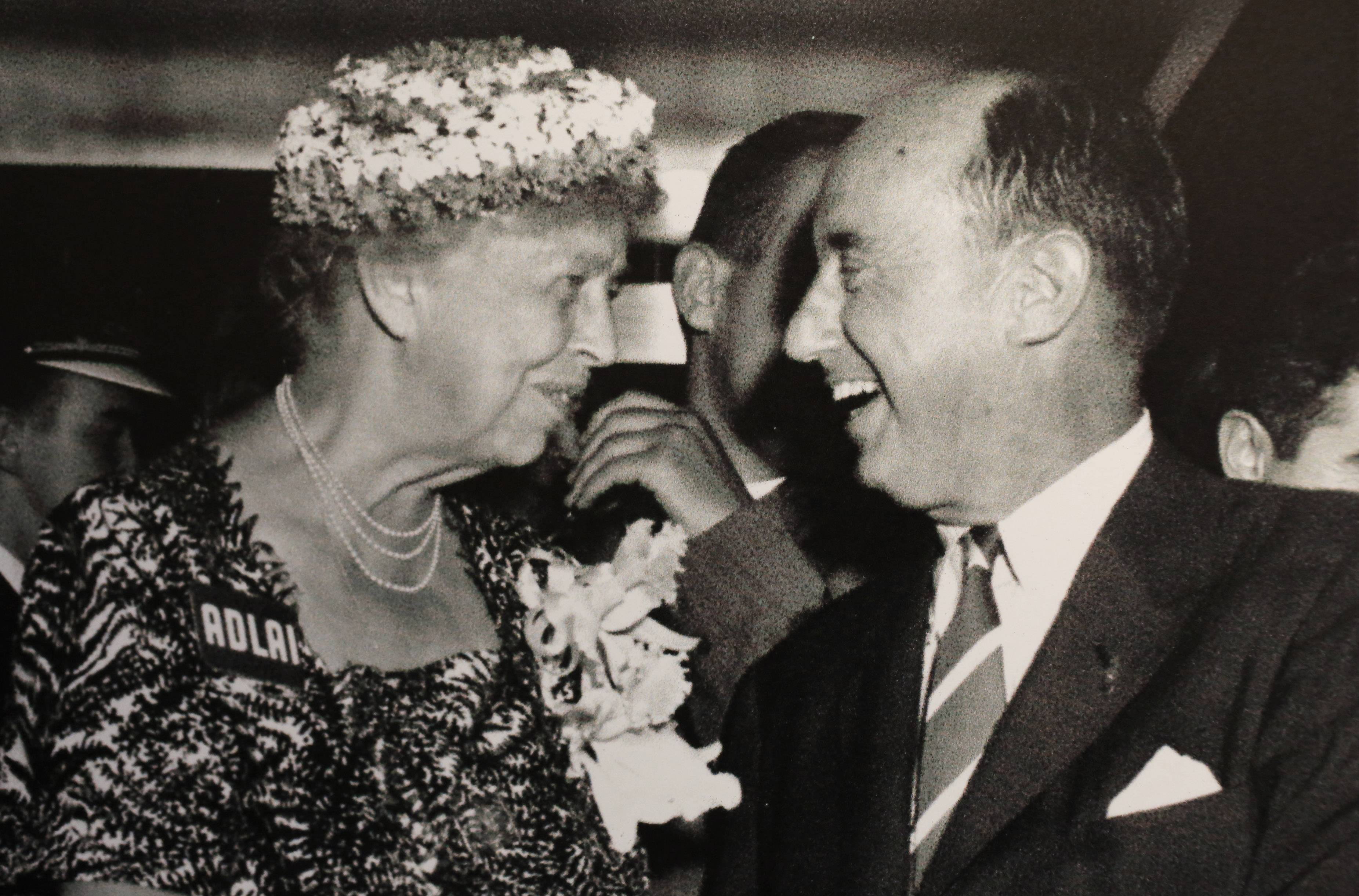 Adlai Stevenson II with Eleanor Roosevelt.