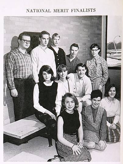 Hillary Rodham Clinton, front, pictured as a National Merit finalist in her 1965 yearbook from Maine South High School in Park Ridge.
