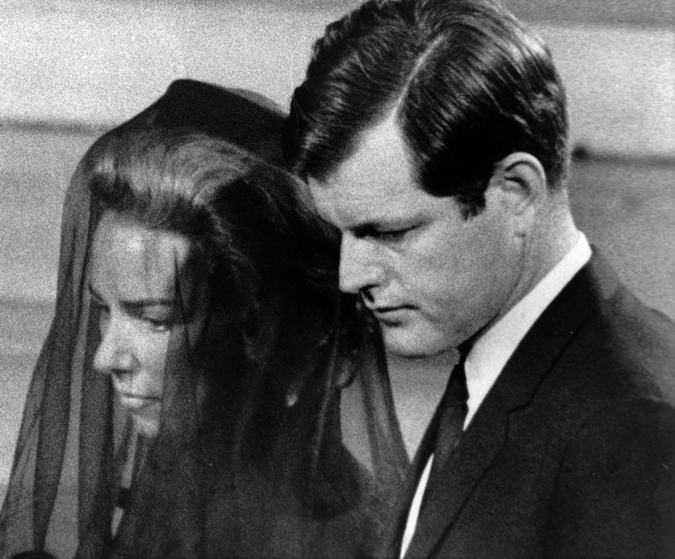 Ethel Kennedy is escorted by her brother-in-law, Sen. Edward Kennedy, at the funeral services of her husband, Sen. Robert F. Kennedy, in 1968.