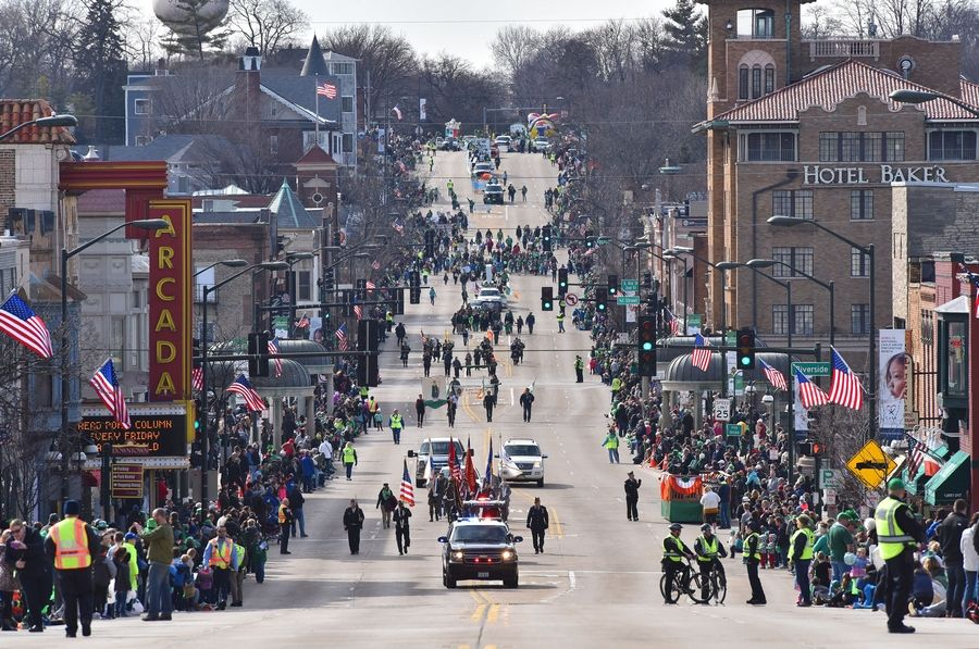 The annual St. Patricks Day parade gets started on Main Street in St. Charles Saturday. Colorful floats, marching bands, leprechauns and walking groups of veterans highlighted the parade.