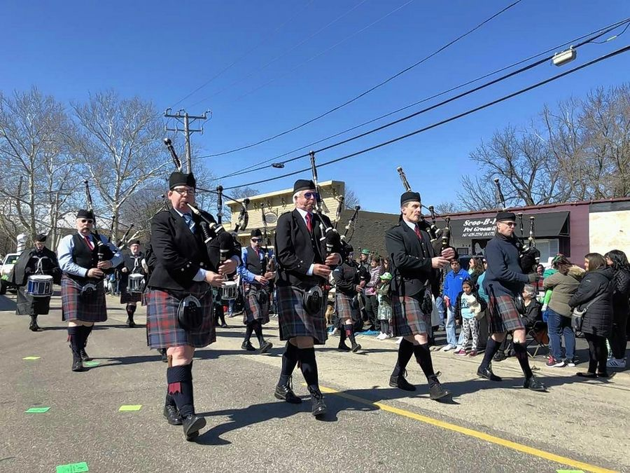 Bagpipers entertain crowds Saturday during the Thom McNamee Memorial St. Patrick's Day Parade in East Dundee. The parade also featured Olympian Bradie Tennell of Carpentersville, who rode in on a Carpentersville fire truck.