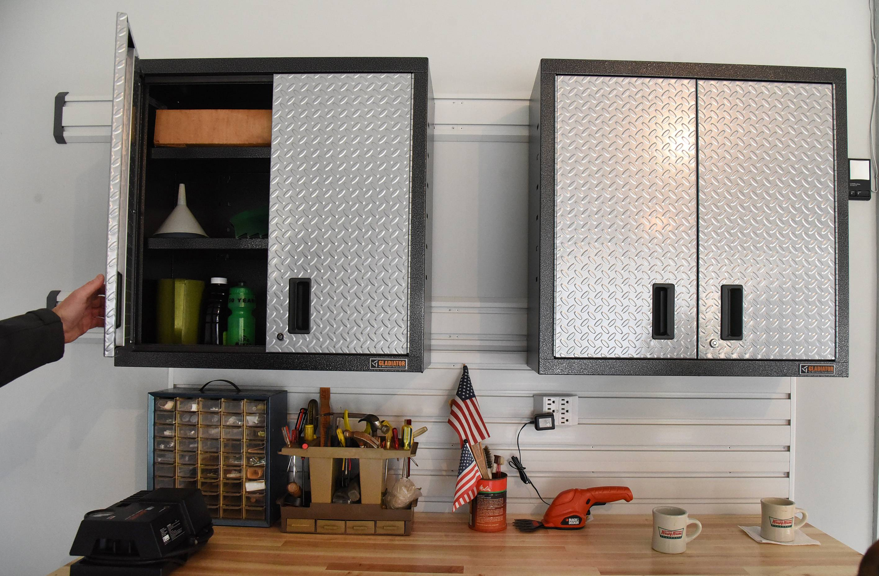 New cabinets in Gary and Susan Heitsch's garage make organizing much easier.