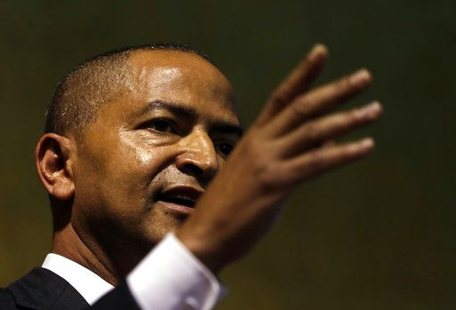 Moise Katumbi, Congolese opposition leader, speaks at a three-day forum, delegates at a resort hotel near Johannesburg, South Africa, Monday, March 12, 2018.  Congolese opposition leader and other figures opposed to longtime President Joseph Kabila met in South Africa on Monday to build a coalition ahead of long-delayed elections in the turbulent, resource-rich country.