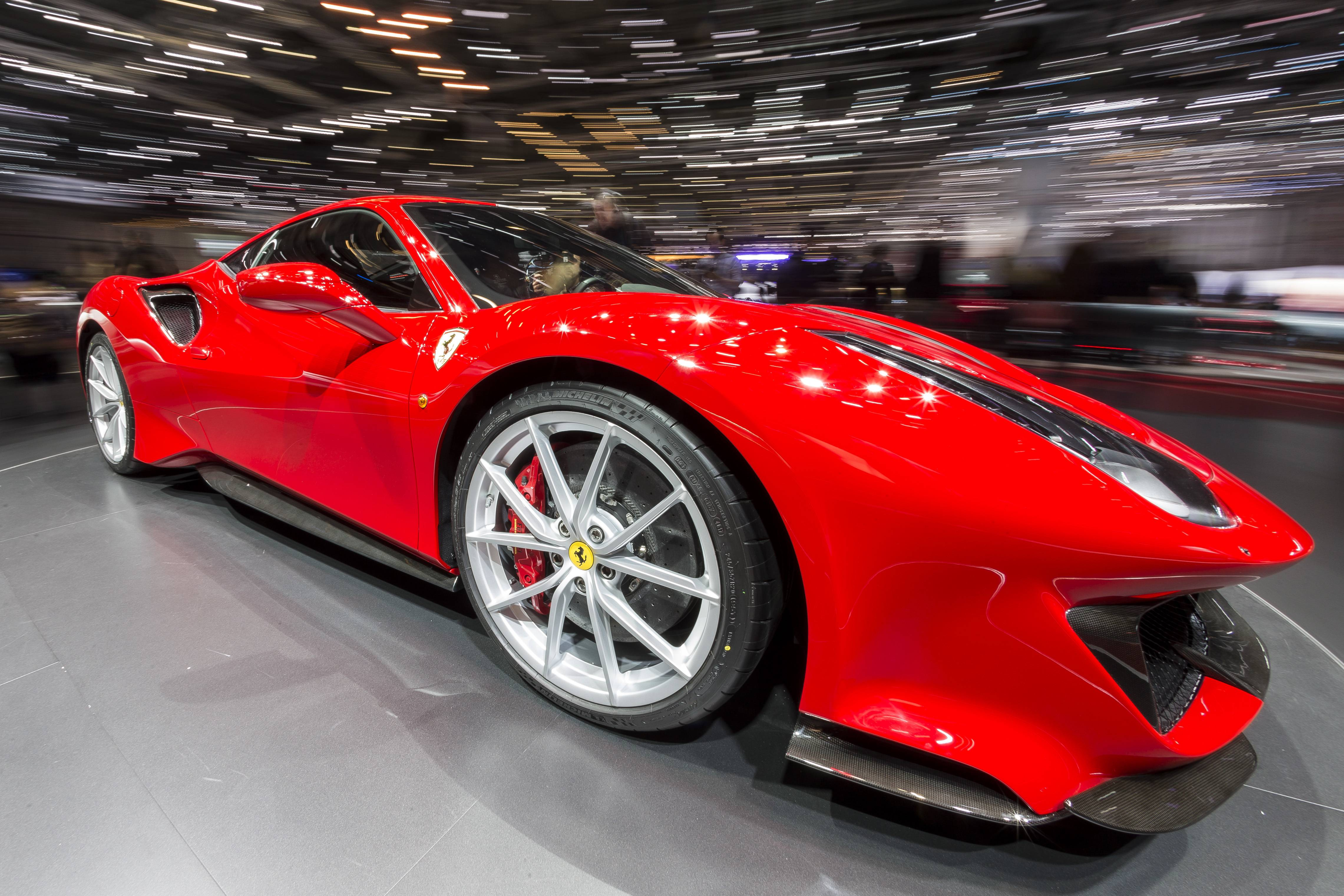 The New Ferrari 488 Pista is presented during the press day prior to the opening of the 88th Geneva International Motor Show in Geneva, Switzerland.
