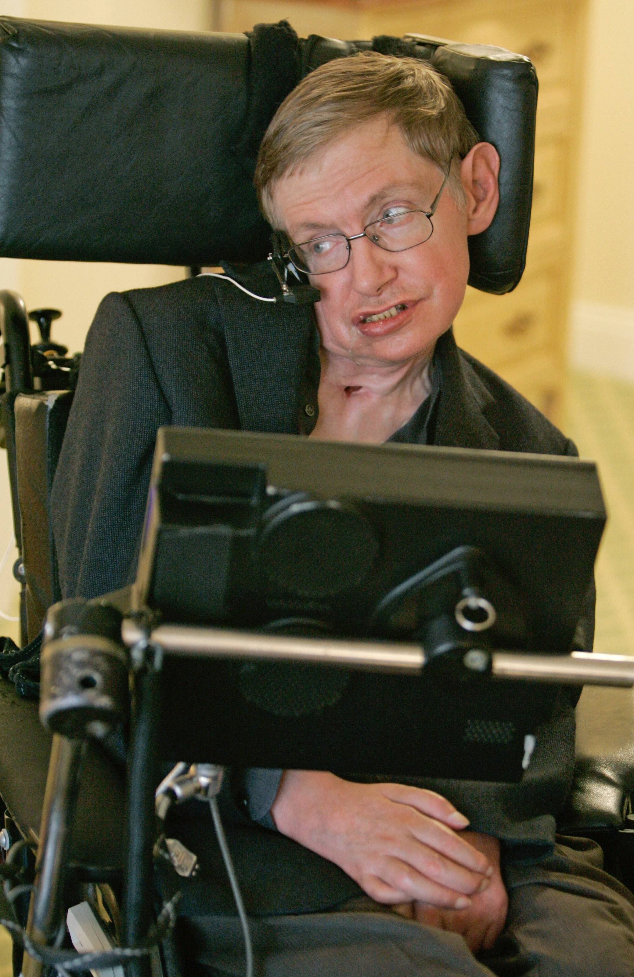In this Thursday, April 26, 2007 file photo physicist Stephen Hawking answers questions during an interview in Orlando, Fla.