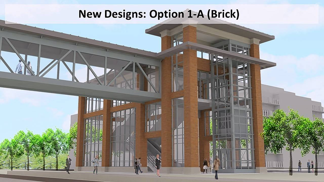 Mundelein officials plan to build a pedestrian bridge over the railroad tracks near the village's Metra station. This preliminary design was selected Monday.