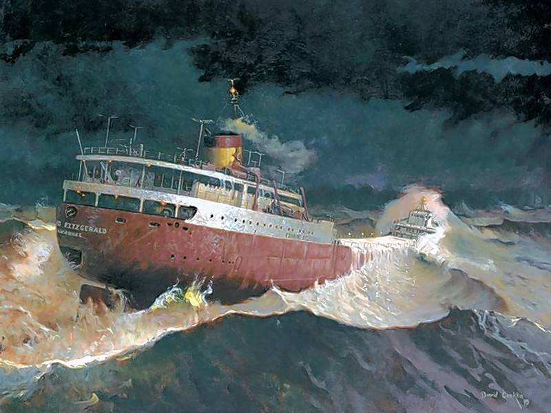 "A limited edition print, ""Every Man Knew,"" by David Conklin featuring the S.S. Edmund Fitzgerald. Learn about ""The Wreck of the Edmund Fitzgerald"" during the next Sampler Series on Monday, March 19."