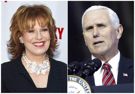 "This combination photo shows TV personality Joy Behar at the ""Lucky Guy"" Opening Night in New York on April 1, 2013, left, and U.S. Vice President Mike Pence aspeaking at U.S. Yokota Air Base, on the outskirts of Tokyo, on Feb. 8, 2018. Behar of ""The View� is apologizing for comments she made for equating people's claims that Jesus Christ talks to them to mental illness. Her apology on ""The View� Tuesday, March 13, 2018, came after Pence said that Behar had called him to personally apologize. (AP Photo)"
