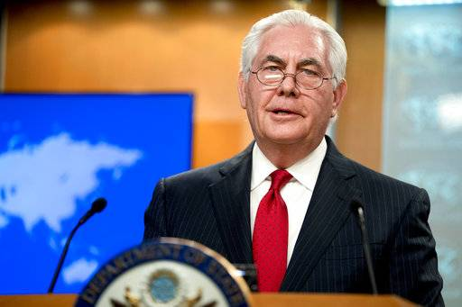Secretary of State Rex Tillerson speaks at a news conference at the State Department in Washington, Tuesday, March 13, 2018. President Donald Trump fired Tillerson and said he would nominate CIA Director Mike Pompeo to replace him, in a major staff reshuffle just as Trump dives into high-stakes talks with North Korea. (AP Photo/Andrew Harnik)