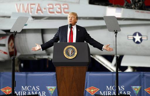 President Donald Trump speaks at Marine Corps Air Station Miramar in San Diego, Tuesday, March 13, 2018.