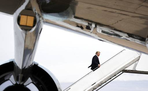 President Donald Trump departs Marine Corps Air Station Miramar, Tuesday, March 13, 2018, in San Diego.