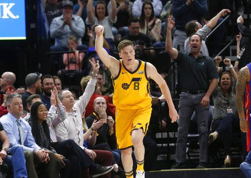 Utah Jazz's Jonas Jerebko (8) reacts after scoring a 3-point shot in the first half of an NBA basketball game against the Detroit Pistons on Tuesday, March 13, 2018, in Salt Lake City. (AP Photo/Kim Raff)